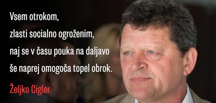 Željko Cigler: poziv šolski ministrici glede toplih obrokov v času pouka na daljavo