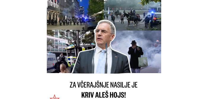 Za včerajšnje nasilje v Ljubljani je kriv Aleš Hojs!