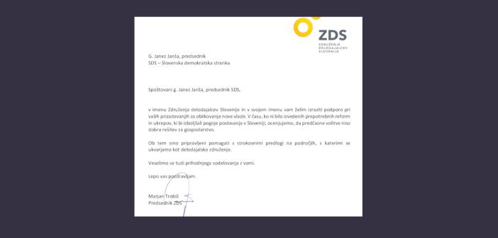 Združenje delodajalcev izrazilo podporo SDS pri oblikovanju vlade