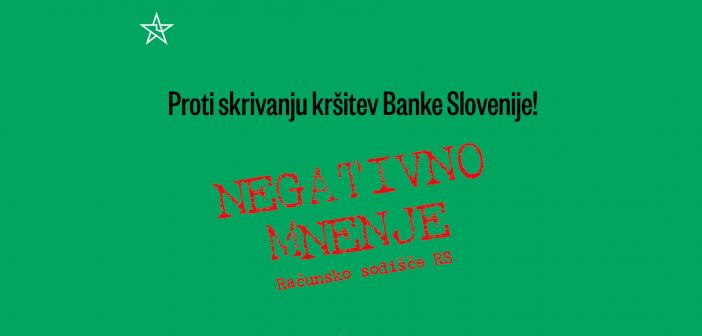 Zahtevamo javno obravnavo revizijskega poročila Računskega sodišča o pravilnosti poslovanja Banke Slovenije