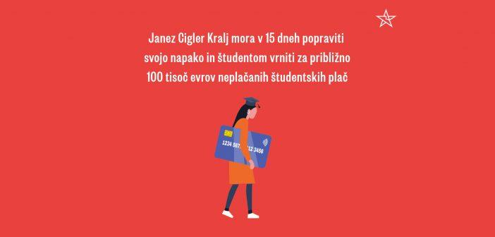 Janez Cigler Kralj mora popraviti krivico oškodovanim študentom