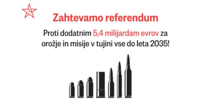 Zahtevamo referendum proti dodatnim 5,4 milijardam evrov za orožje in misije v tujini!